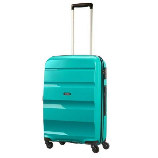 American Tourister Bon Air Spinner négy kerekes gurulós kemény fedeles bőrönd poggyász kék