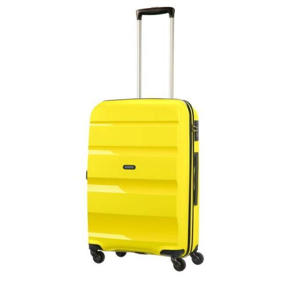 American Tourister Bon Air Spinner négy kerekes gurulós kemény fedeles bőrönd poggyász sárga