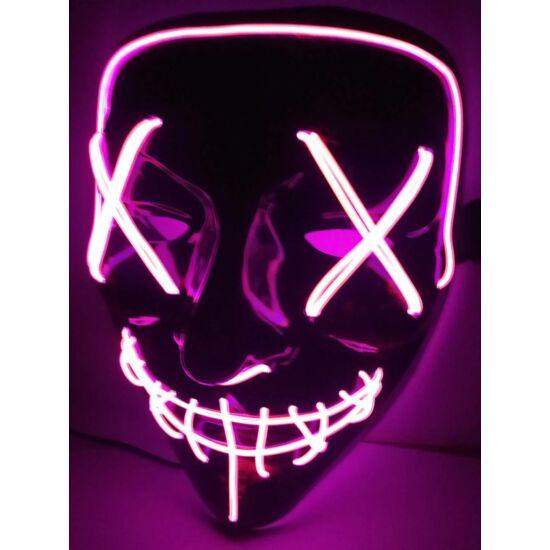 The Purge A bűn éjszakája LED világító halloween, farsangi maszk - LILA